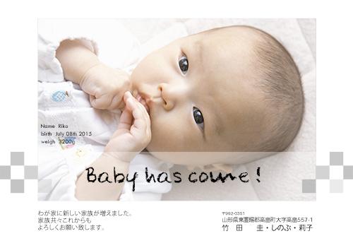 出産報告はがきBABY-010【写真1枚使用】 BABY-010